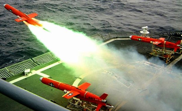 Drone target cruise missiles rocket launching from the deck of a ship