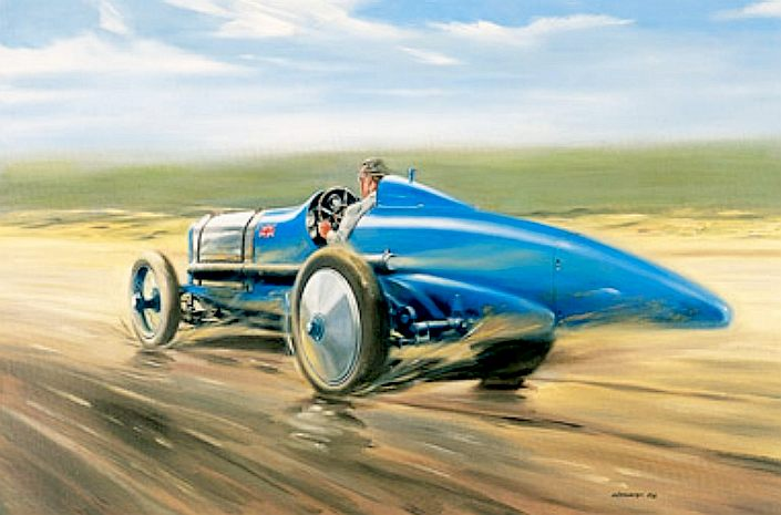 Bluebird at Pendine Sands, a painting of Sir Malcolm racing