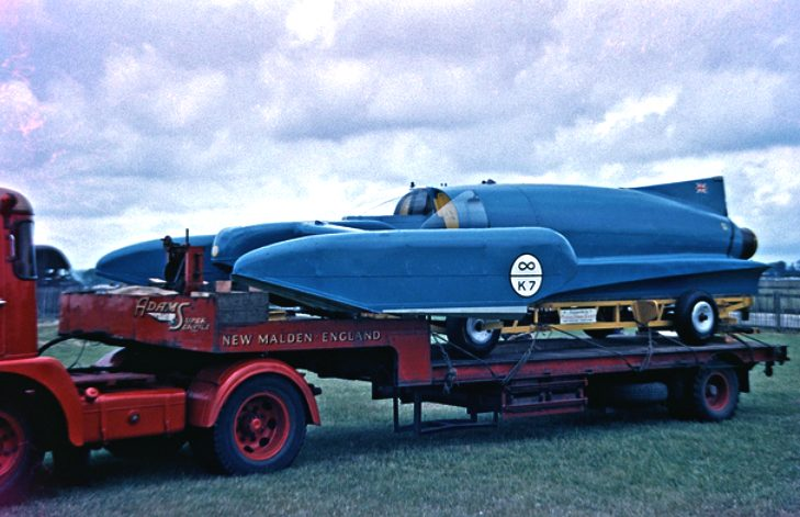 Goodwood in 1960, the K7 Bluebird on a low loader