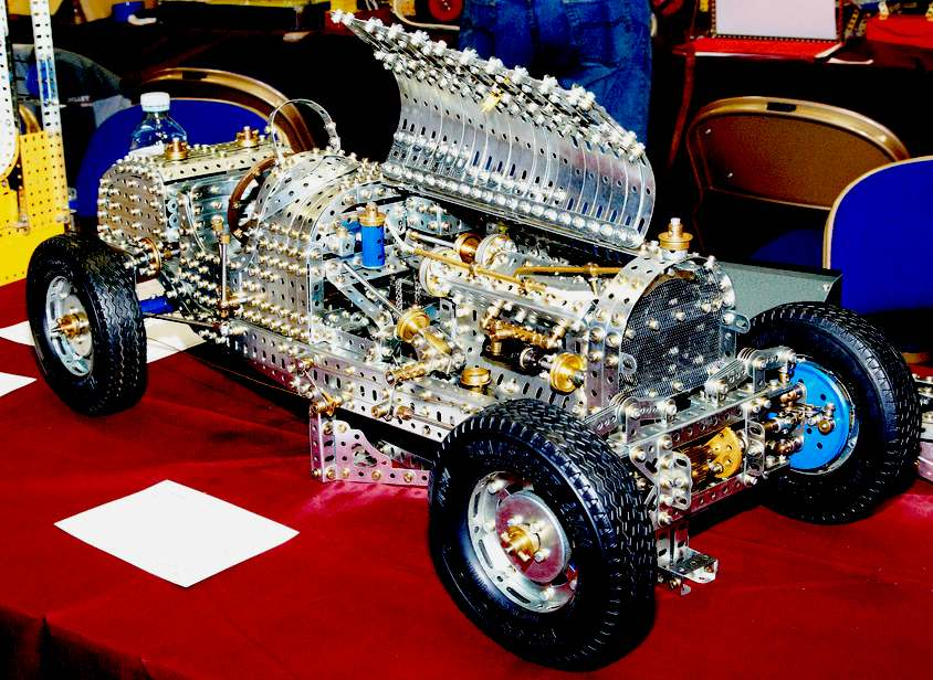Bugatti classic car made of meccano