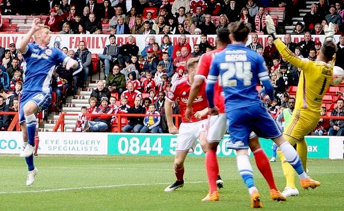 Cardiff City football club score a goal against Nottingham Forest