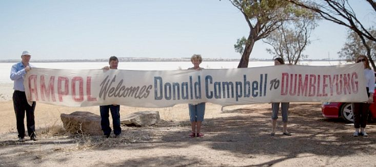 Dumbleyung welcome committee banner, Donald Campbell