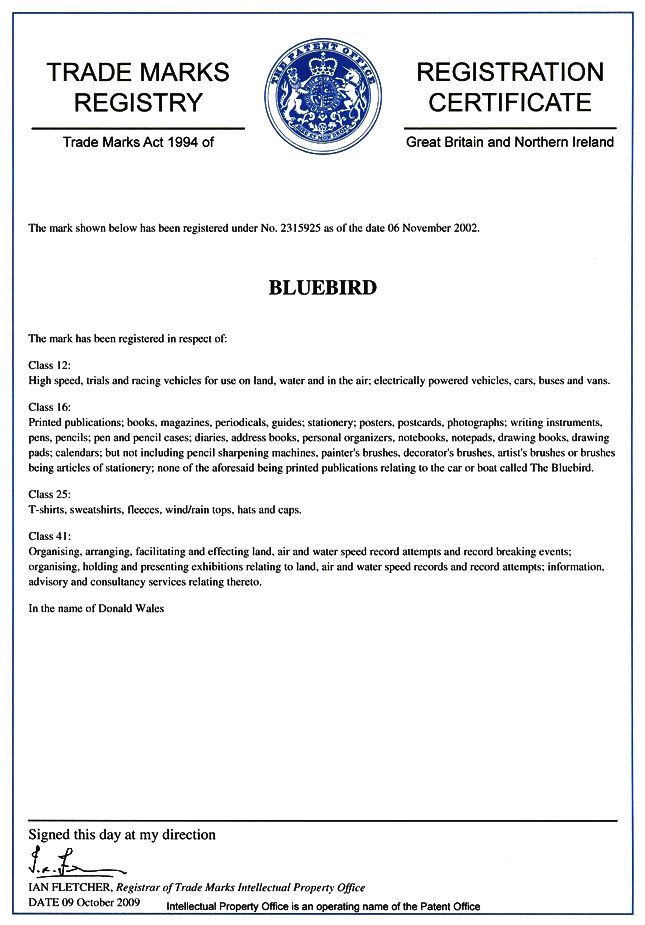 Bluebird trademark, yachts, vehicle parts