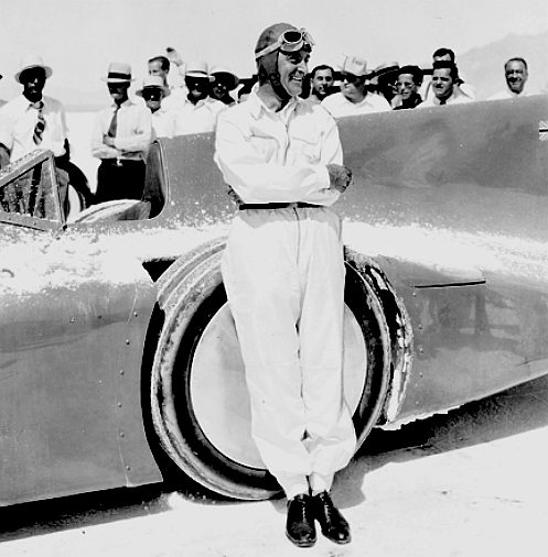 Captain Malcolm Campbell at the Bonneville salt flats