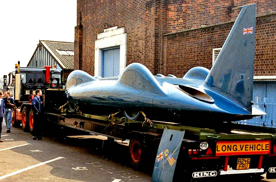 Bluebird CN7 jet powered car on a low loader
