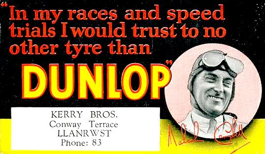 Dunlop promotional blotter give aways - Kerry Brothers Garages