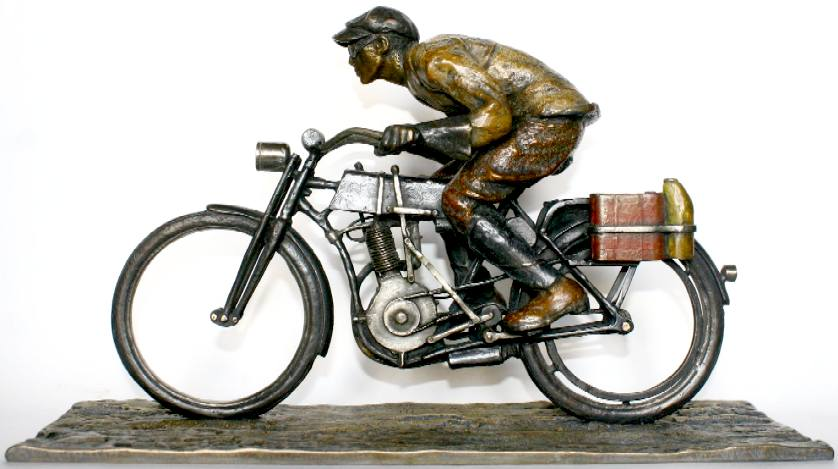 Cannonball motorcycle racing trophy