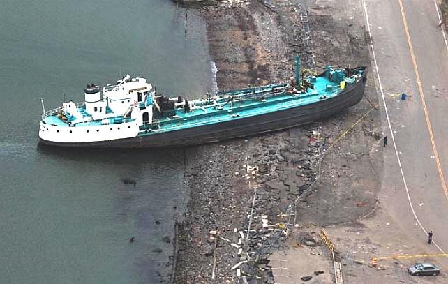 Storm Sandy casualty - a tanker runs aground