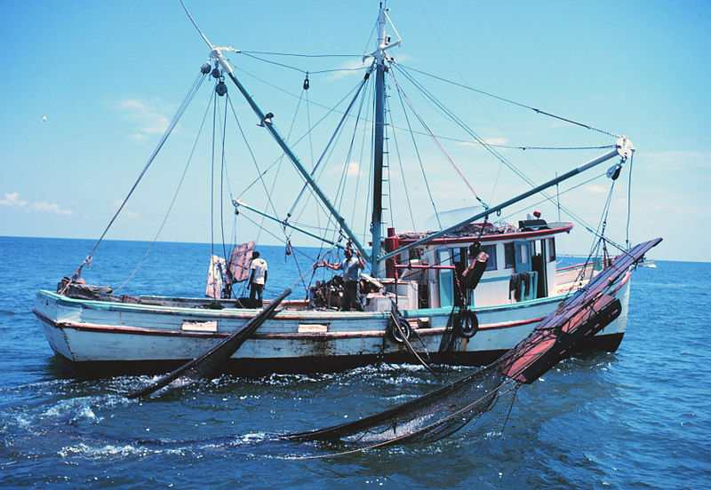 Fishing boat shrimp nets