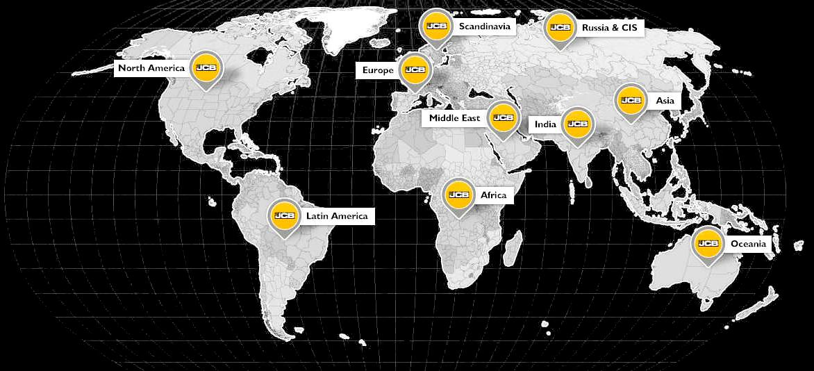 http://www.jcb.com/ world wide distribution network map