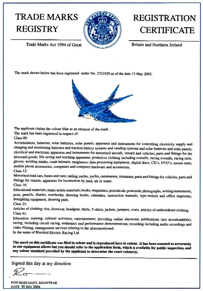 Blue bird trademark, yachts, vehicles, cars