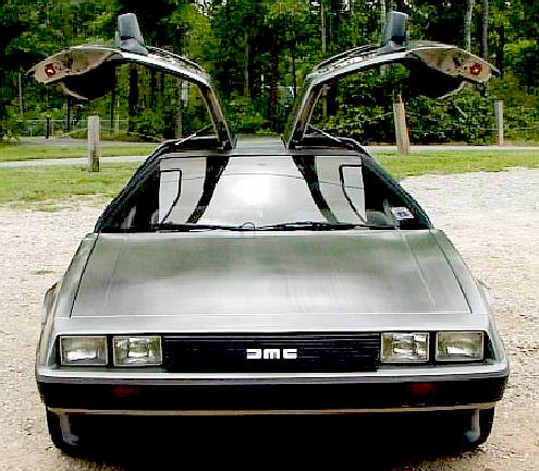 De Lorean Motor Company sports car with gull wing doors