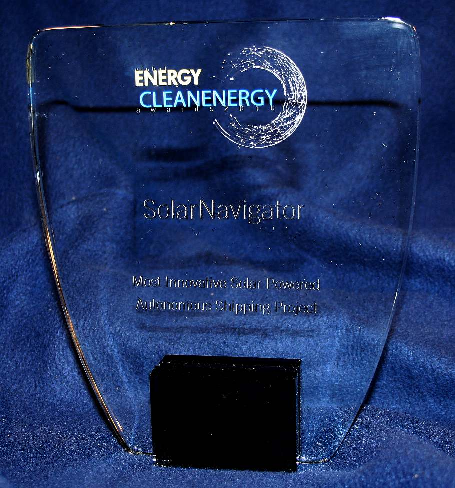 Clean energy award for autonomous solar powered ship