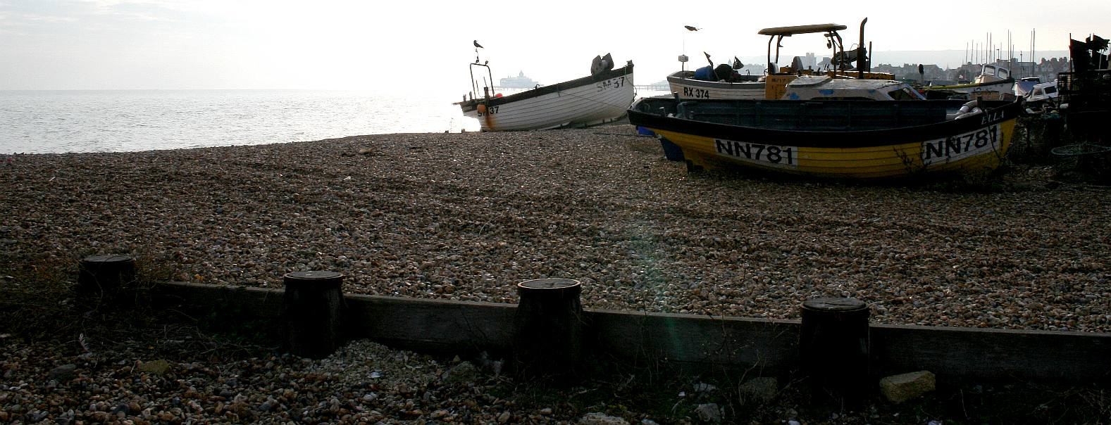 Fishing boats beached at Eastbourne in East Sussex