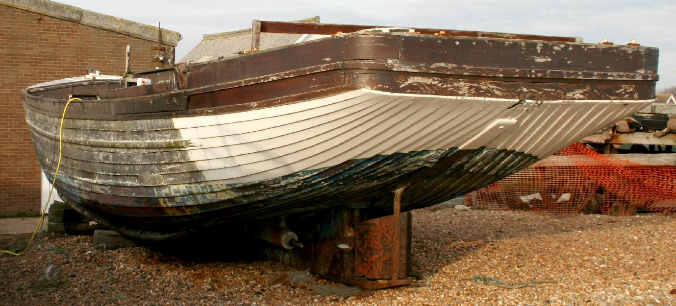 The Southern Queen wooden hull needing repairs